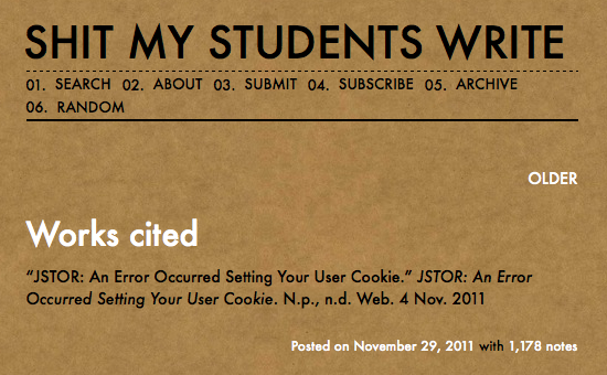 "Bad citation from the tumblr blog ""Shit my Students Write"""